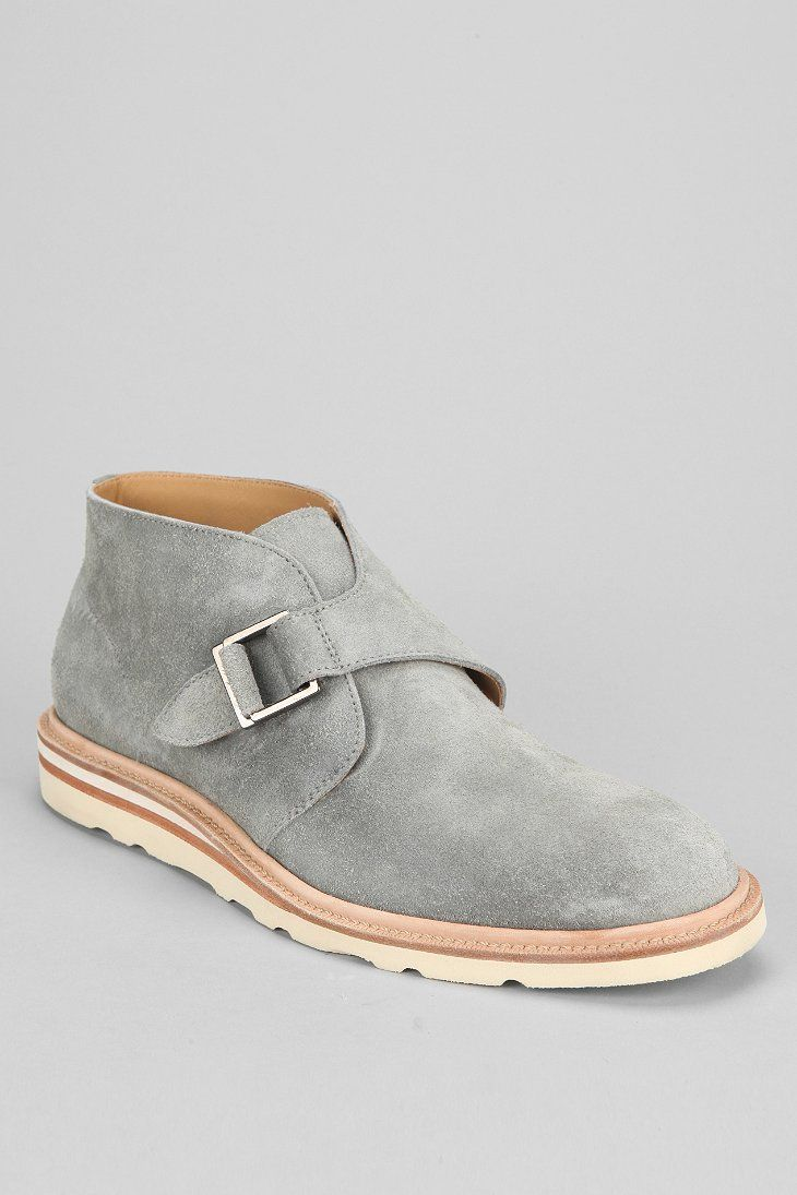 Cole Haan Wedge Monk-Strap Chukka Boot, in Grey Suede with White Sole, Men's Spring Summer Fashion.