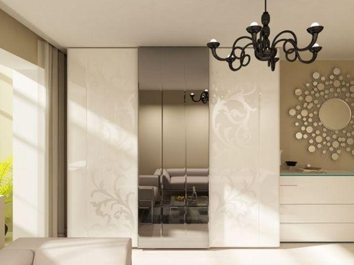 Unique modernes Design Kleiderschrank Schiebet r mit Spiegelglas antiker Kronleuchter