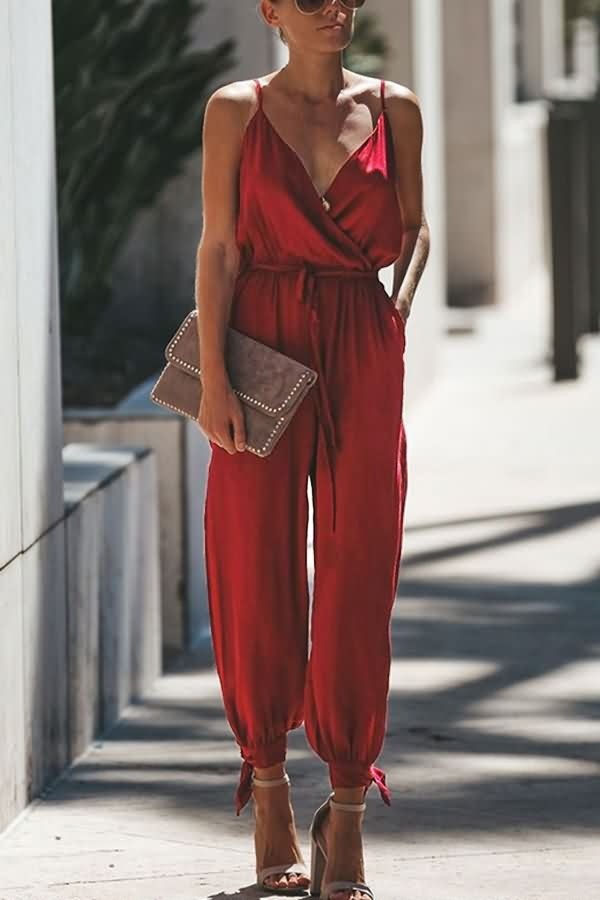 Red Spaghetti Straps Tied Wrap Slit Hem Sexy Jumpsuit #055347 @ Sexy Rompers And... 1