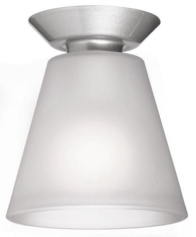 Beacon Lighting - Iso cone shaped do-it-yourself batten fix in satin silver finish with opal glass