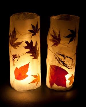 Autumn Lanterns-wax paper and mason jar