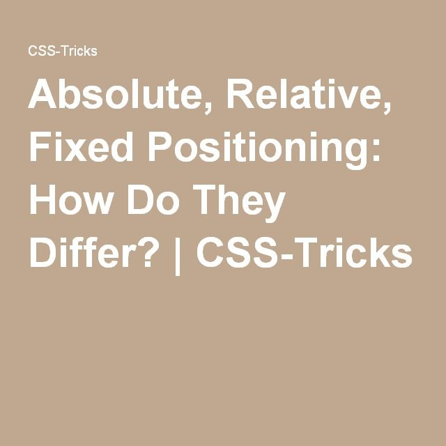 Absolute, Relative, Fixed Positioning: How Do They Differ?   CSS-Tricks