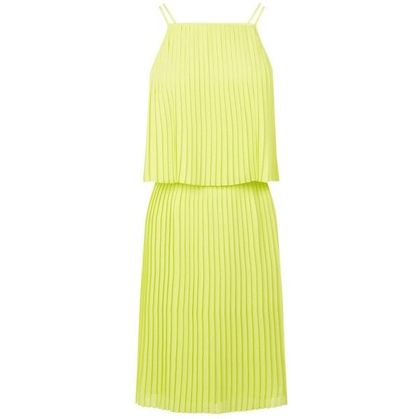 Warehouse Plisse Pleated Dress, Yellow (230 GTQ) ❤ liked on Polyvore featuring dresses, yellow midi dress, halter top, yellow dress, sleeveless maxi dress and yellow maxi dress