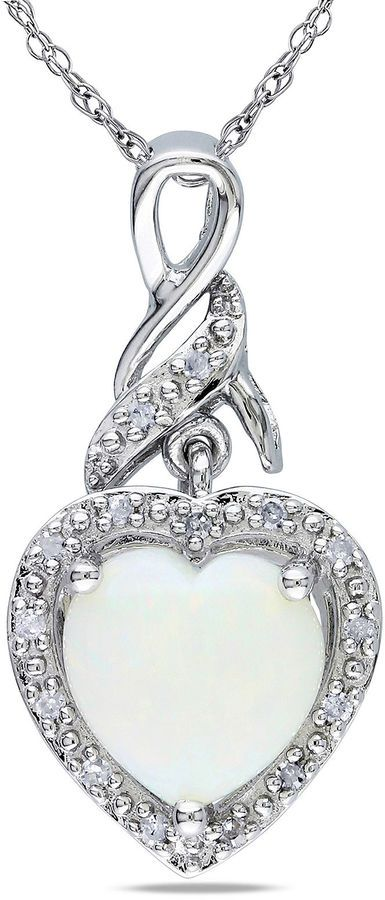 FINE JEWELRY Heart-Shaped Genuine Opal and Diamond-Accent Sterling Silver Pendant Necklace