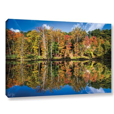 "Andover Mills Autumn Reflection Photographic Print on Wrapped Canvas Size: 24"" H x 36"" W x 2"" D"