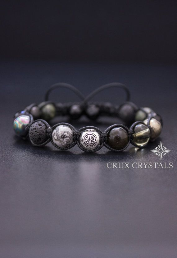 birkenstock outlet stores in california Peace Love Men  39 s Natural Stone Shamballa Bracelet by CruxCrystals