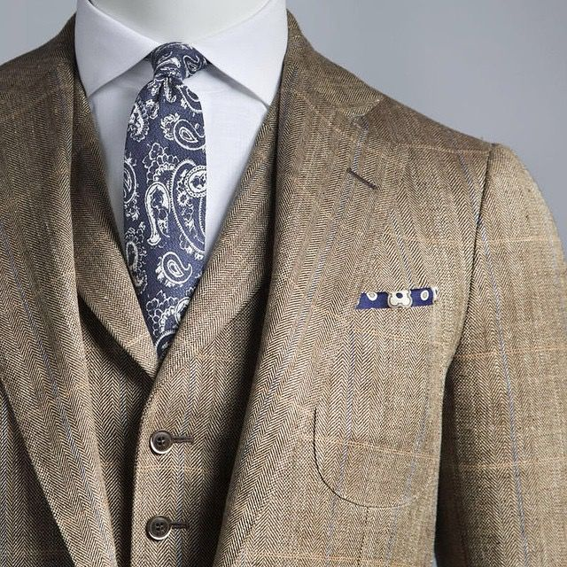 Brown herringbone/windowpane linen blend