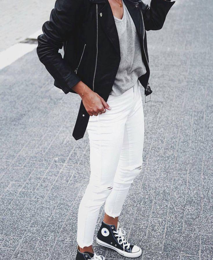 white jeans + moto jacket + grey tee