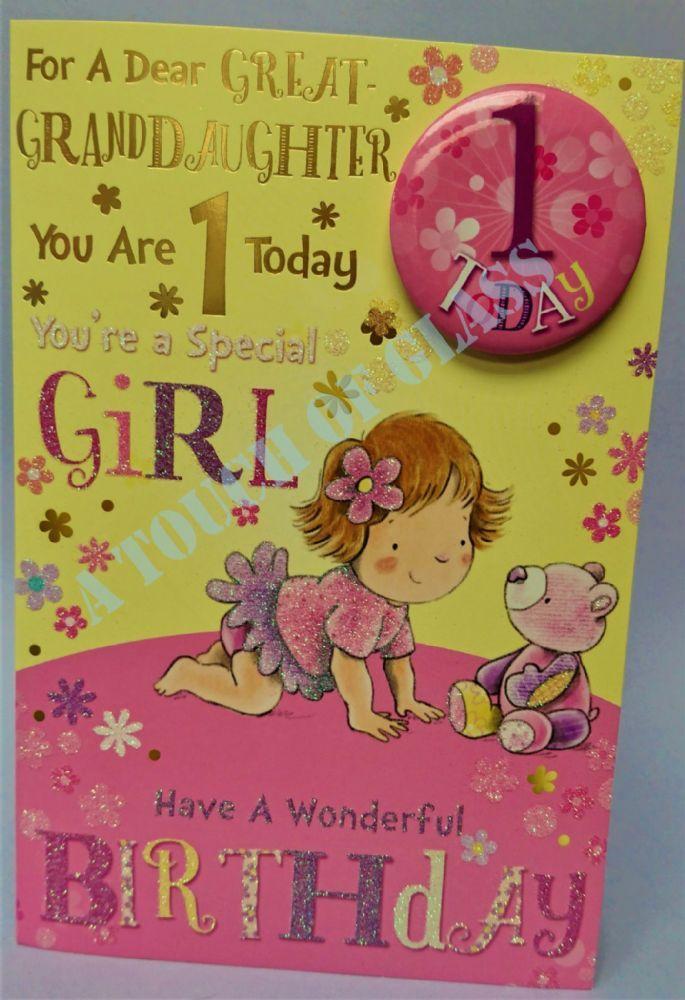 Great Granddaughter 1st Birthday Badge Card Candy Club Greetings Cards 1st Birthday Cards Birthday Cards Birthday Badge