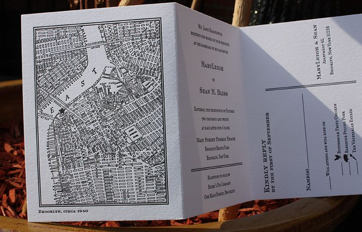 MaryLeigh and Sean: vintage NYC map letterpressed as trifold with rip off reply card