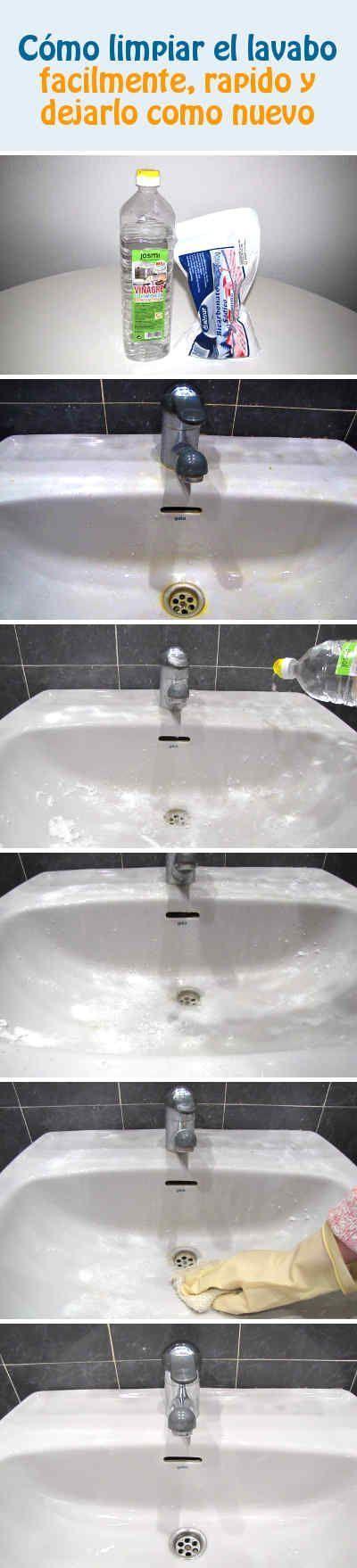 Cómo limpiar el lavabo facilmente, rapido y dejarlo como nuevo #baño #lavabo #limpieza #tips #DIY
