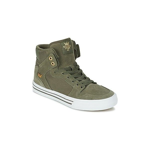 Supra VAIDER Shoes (380 BRL) ❤ liked on Polyvore featuring shoes, sneakers, green, high-top sneakers, supra high tops, supra sneakers, green high tops and hi tops