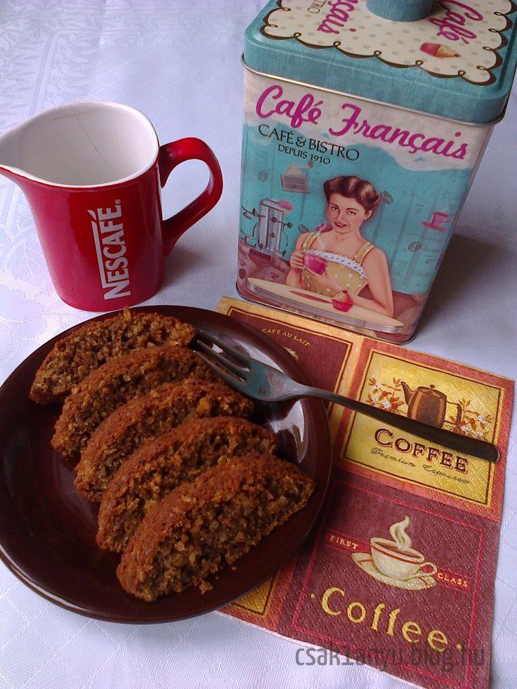 Egyszerű,+finom,+egészséges+napindító+süti.+A+reggeli+kávé+mellé+tökéletes+:-)+ Hozzávalók:  2+tojás 60gr+fruktóz 70ml+olívaolaj 1dl+szójatej 100gr+zabpehelyliszt 50gr+darált+dió 50gr+zabpehely+(apró+szemű) 1ek+instant+kávépor 1tk+sütőpor  A+tojásokat…
