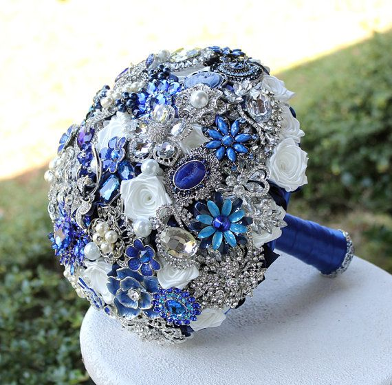 blue flowers for weddings royal blue wedding brooch bouquet deposit on made by 1932