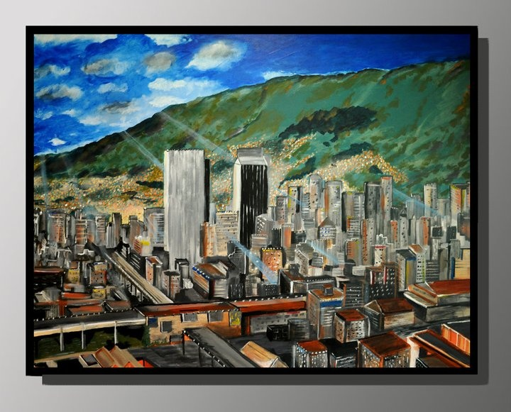 "Bogota, Colombia - Custom 48"" x 36""    Painting by Paul Peterson, Artist    Paintings can be commissioned in any custom size and can be shipped anywhere in the US.  Contact us for pricing!"