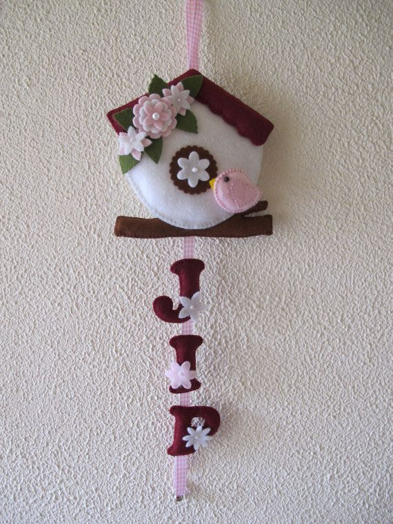 Birdhouse wall hanging with child's name