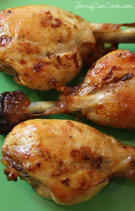 Skinless Chicken Drumsticks recipe from Jenny Jones (JennyCanCook.com) - Marinated, oven-roasted, delicious. #jennyjones #chicken #skinlessdrumsticks