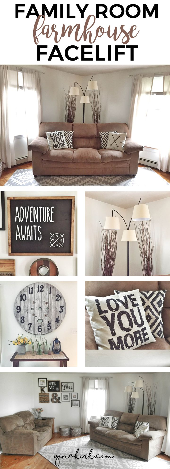 Family Room Farmhouse Facelift! | Check out this living room / family room makeover - a touch of charm and a whole lot of character and fixer upper design in this cape style family room space. GinaKirk.com @ginaekirk