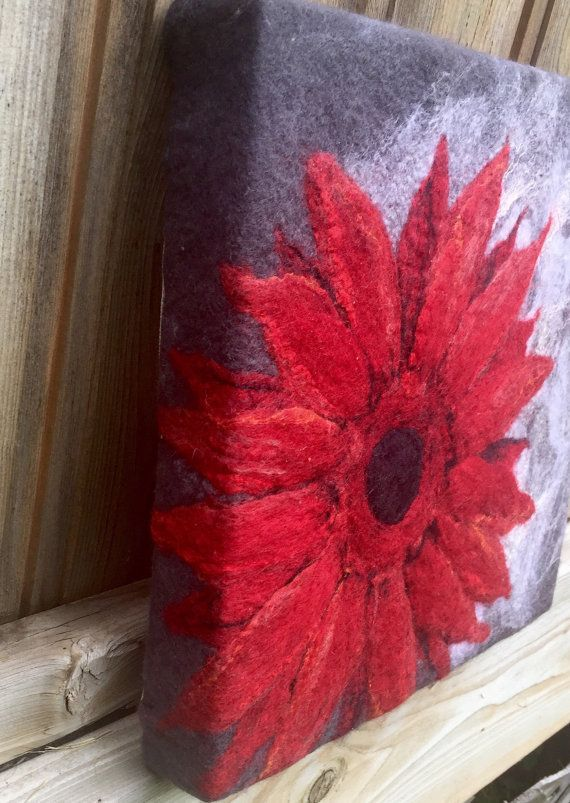 Felted Wool Painting Red Daisy One of a by TuckamoorWildcrafts