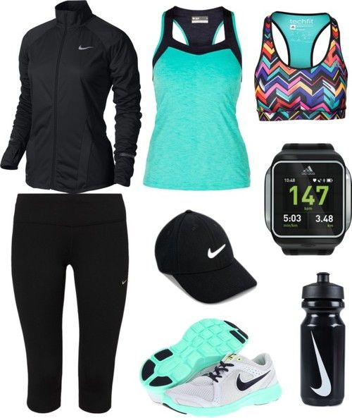 Workout Outfit -Nike Element Shield Full-Zip Women's Running Jacket -LIJA Score Racer Back Tank Top -Adidas Performance Tf Bra Chevron -Nike Performance DF EPIC LUX CAPRI Tights -Nike Legacy 91 Cap -Adidas Training Accessories MICOACH SMART RUN WATCH (Black) -Nike Flex Experience Run 2 Women's Running Shoes -Nike Big Mth Water Bottle