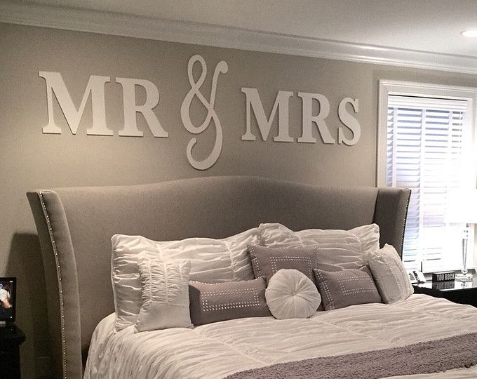 Mr & Mrs Wall Sign Above Bed Decor - Mr and Mrs Sign for Over Headboard - Home Decor Bedroom Bridal Gift (Item - MMW100)