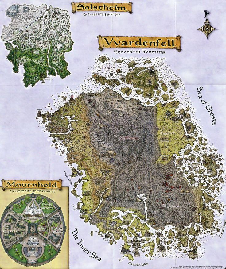 The Elder Scrolls III Morrowind Vvardenfell Map