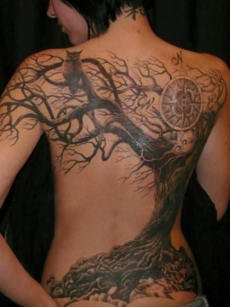 Tree and compass - Tattoos and Tattoo Designs