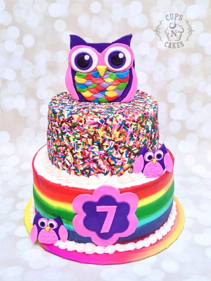 Rainbow Owl Cake  - Cake by Cups-N-Cakes