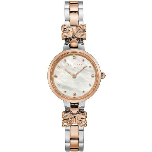 Ted Baker London Women's Amy Stainless Steel Bracelet Watch ($175) ❤ liked on Polyvore featuring jewelry, watches, two tone, watch bracelet, analog watches, stainless steel jewelry, water resistant watches and bow jewelry