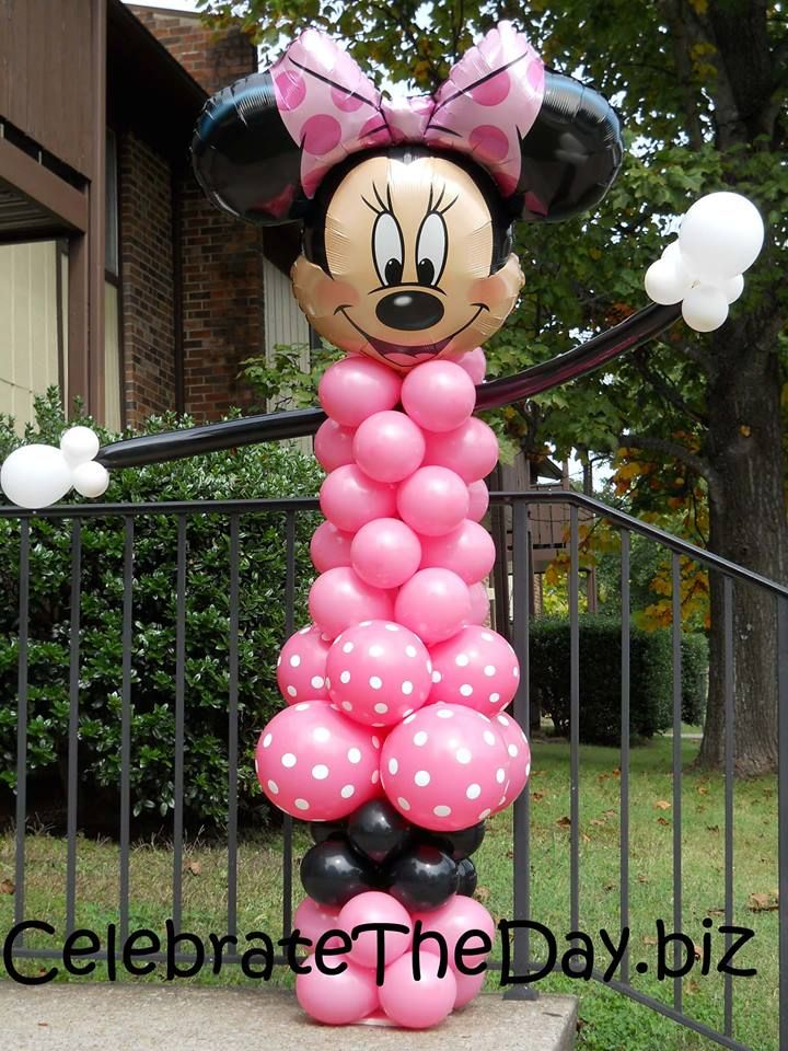 Minnie mouse balloon tower minnie mouse party for Balloon decoration minnie mouse