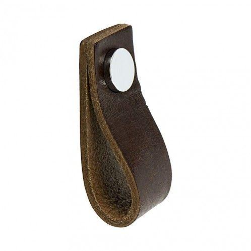 Handtag Loop - Läder Brun / Polerad Krom - Beslag Design