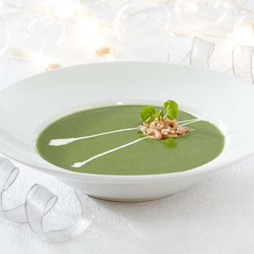 Soupe de cresson aux épinards et aux crevettes