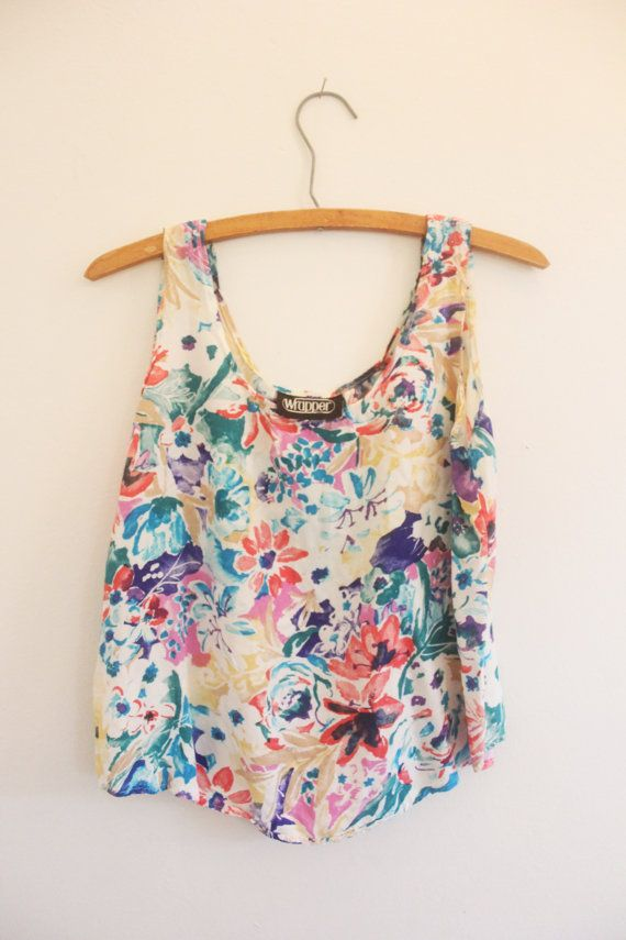 Summer Crop Top / Vintage Floral Blouse by LlorePemberton on Etsy, $15.00