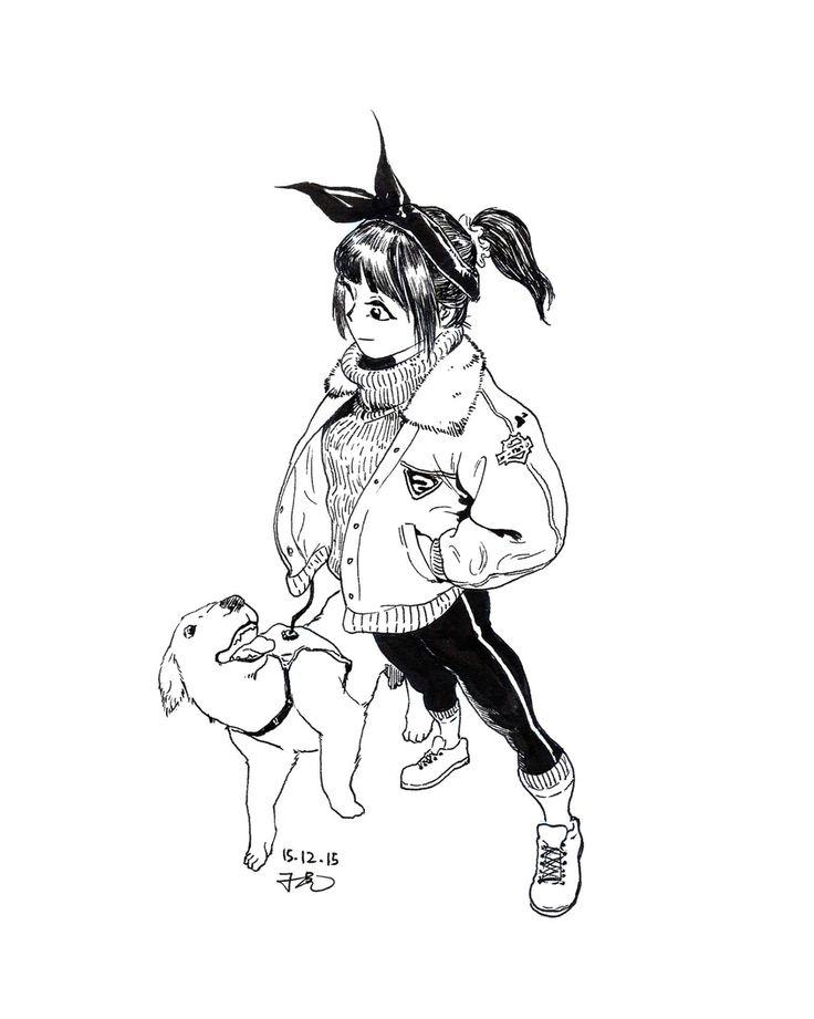 Drawing doodle penart sketch study girl dog