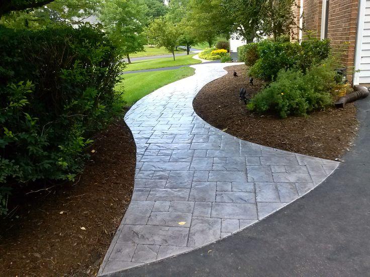 Stamped Concrete Walkway - Ashlar Slate Pattern.