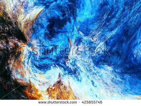 Abstract bright motion composition. Modern futuristic dynamic painting background. Blue and yellow color artistic pattern. Fractal artwork for creative graphic design