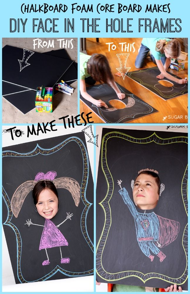 DIY Chalkboard Face In the Hole ~ Sugar Bee CraftsChalkboards Face, Foam Boards, Hole Frames, Parties Ideas, Diy Chalkboards, Sugar Bees, Diy Face, Bees Crafts, Face In Hole Diy