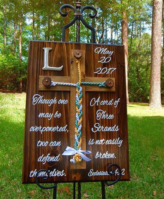 Wood Cross, Unity Braids®, Rustic Wedding Unity Cross, Cord of Three Strands, Wedding Ideas, Love, Gods Braids, Wall Decor, Sign, Christian