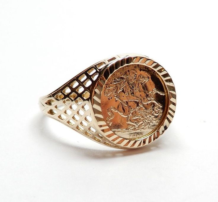 9 Carat Yellow Gold St George & The Dragon 1901 Coin Ring 1.5g UK M #Coin