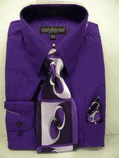 Daniel Ellissa Mens Purple Dress Shirt Tie Set D1P2 - click to enlarge