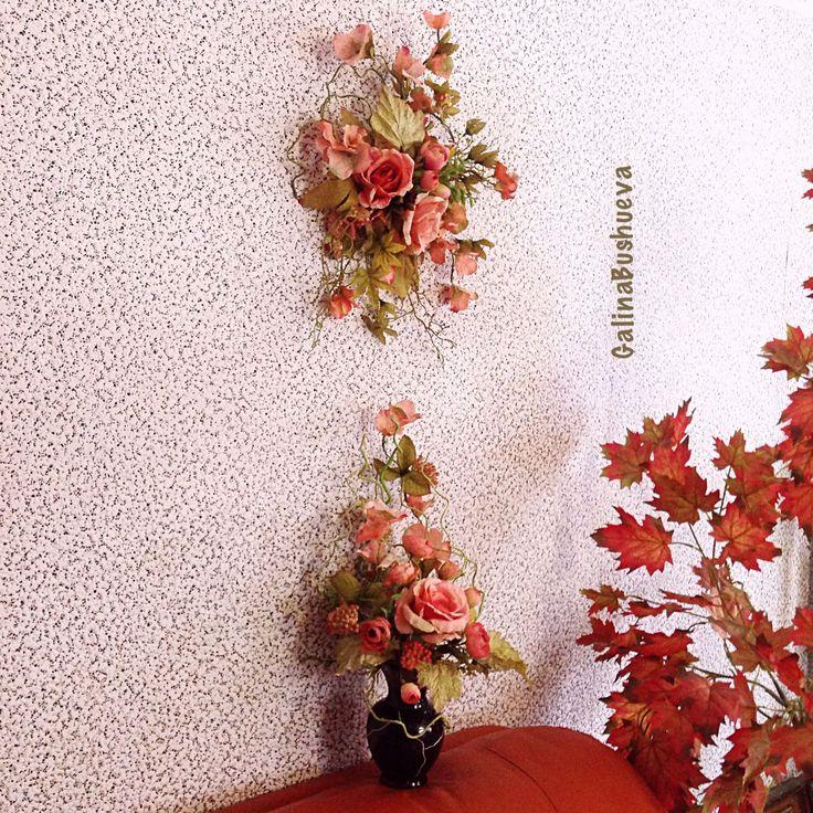 """Купить """"Японские цветы"""" мини свэг. - композиция из цветов, цветочная композиция, интерьерная композиция"""