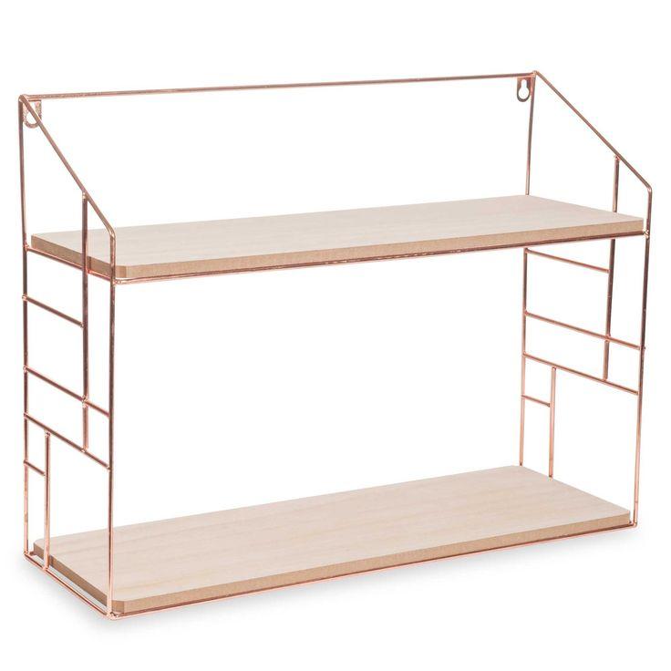 LULEA COPPER metal wall shelf, 38x50cm