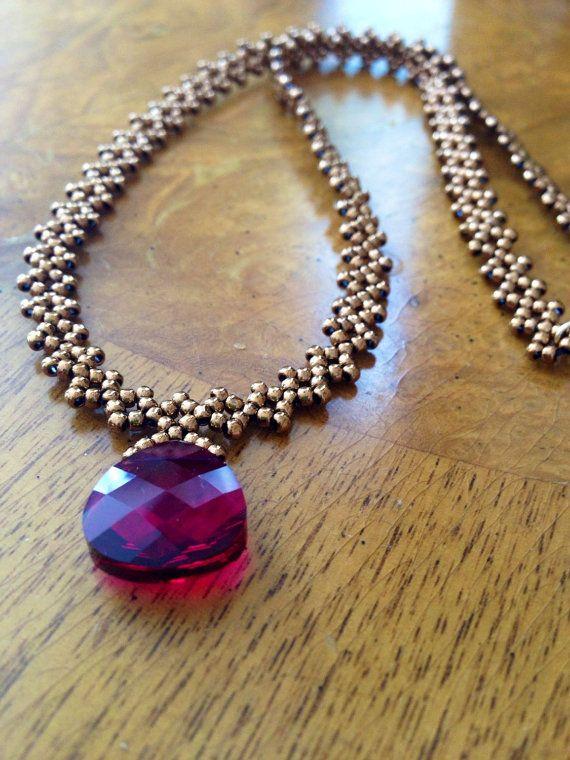 Perline collana di cristallo rosso rubino rossa collana