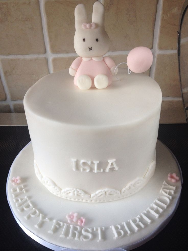 Miffy birthday cake, fondant, first birthday