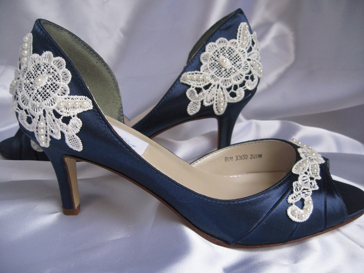 Wedding Shoes With Lace And Pearls Navy Blue