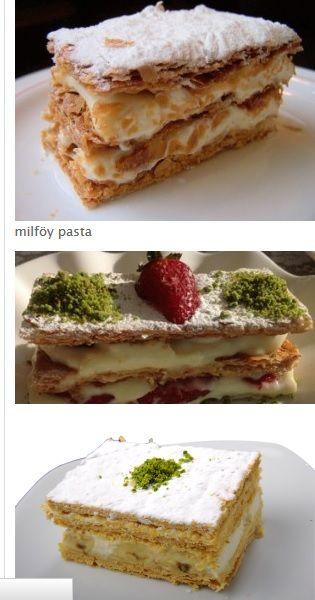 Milföy pasta tarifi 12 tane milföy hamuru 1 paket dolgu kreması 250 ml soğuk süt Pudra şeker 1 su bardak orman meyvesi