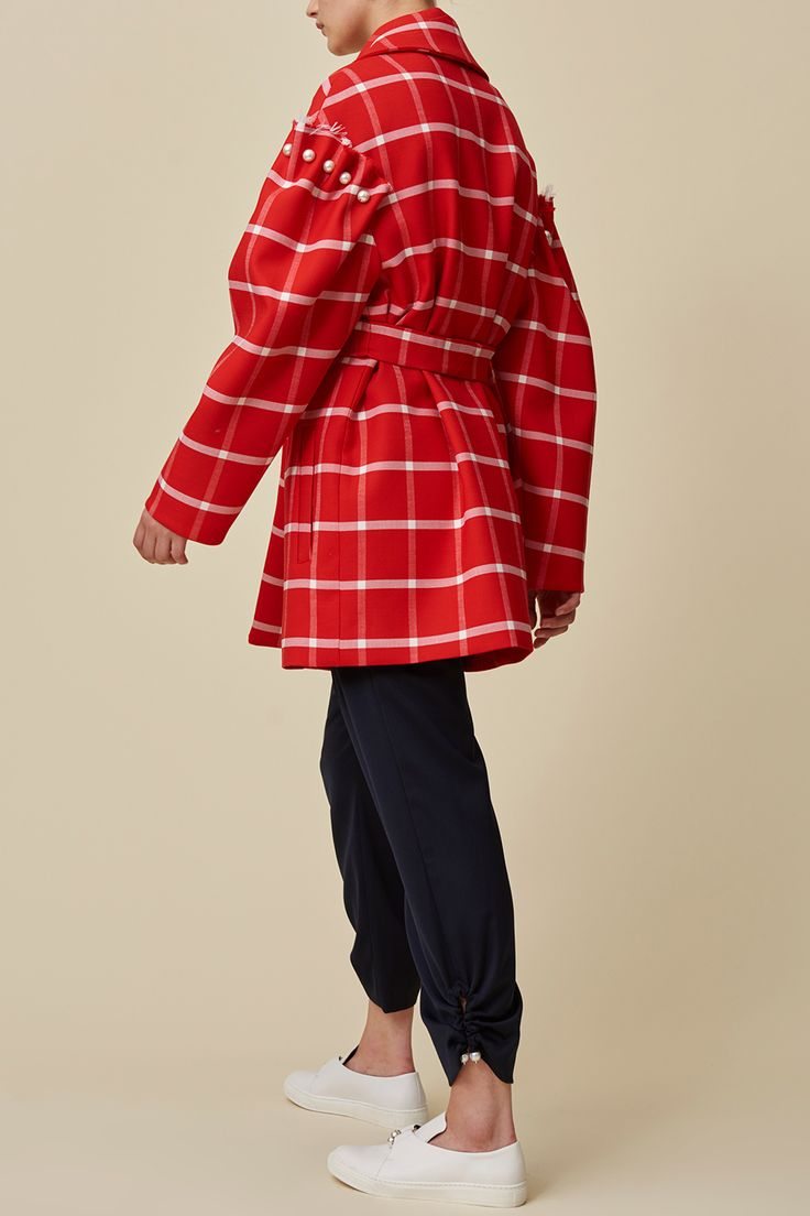 DEON RED CHECK COAT - Our iconic Deon coat now comes in red check for Winter. Shop exclusively now online.  #motherofpearl #pearlyqueens #deoncoat #pearldetail