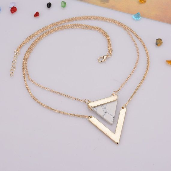 Black friday: Marble Necklace Marble Triangle by FunIsStyle