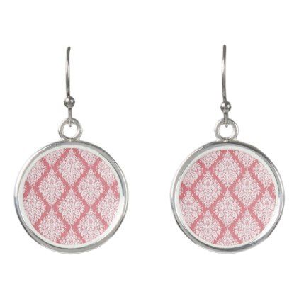 Strawberry Ice Pink Damask Earrings - girly gift gifts ideas cyo diy special unique