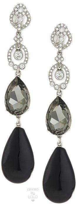 Oscar de la Renta Loop Crystal Drop Earrings | LOLO❤︎